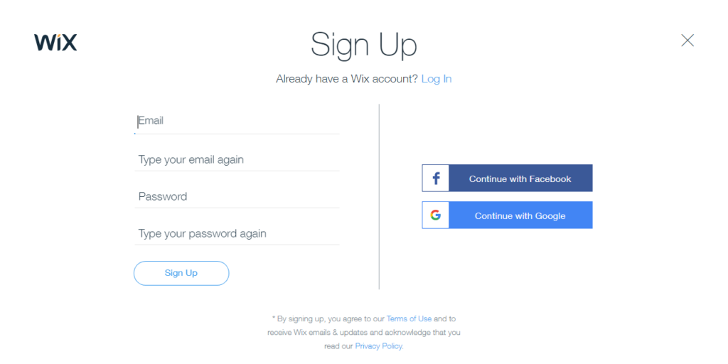 Creating an account in wix web builder
