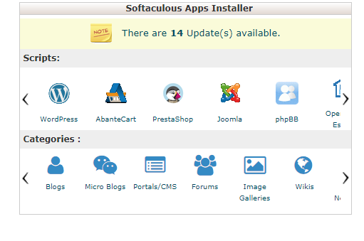 Softacuous apps in cpanel