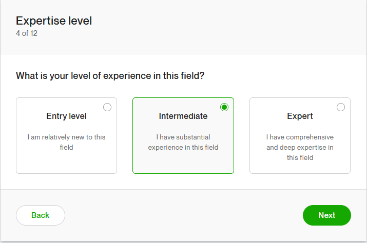 Choose Experience Level in Upwork