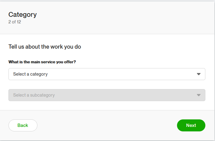 Choose a category in Upwork