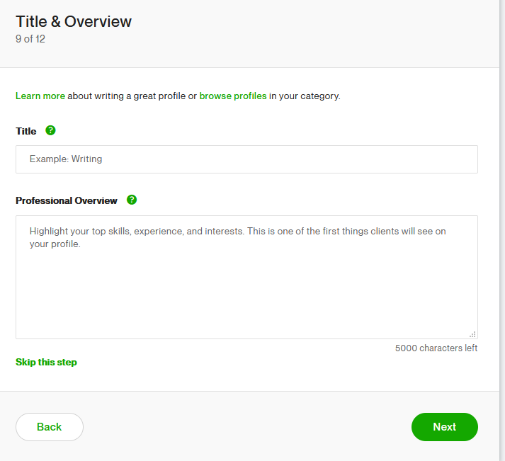 Title and Overview on Upwork