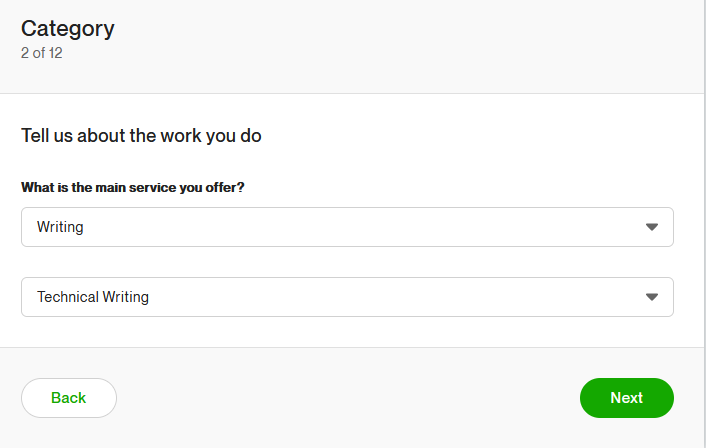 Writing category in Upwork